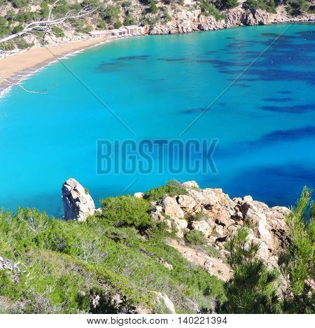 Turquoise sea and rocky coastline with turquoise water