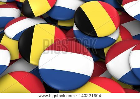 Netherlands And Belgium Badges Background - Pile Of Dutch And Belgian Flag Buttons 3D Illustration