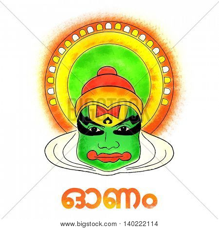 Creative illustration of Kathakali Dancer Face with Stylish Text Onam in Malayalam on white background for South Indian Festival celebration.