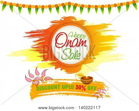 Happy Onam Sale with Discount Upto 30% Off, Creative Poster, Banner or Flyer design for South Indian Festival celebration.