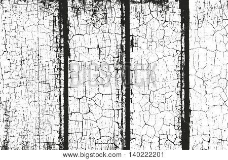 Distressed overlay wooden fence texture grunge vector background.