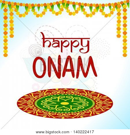 Elegant Greeting Card design with colorful rangoli and beautiful flowers decoration for South Indian Famous Festival, Happy Onam celebration.