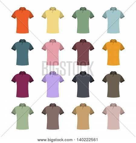 Set of sixteen in a flat style color t-shirts isolated on white background design element outerwear and article of clothing second set vector illustration.