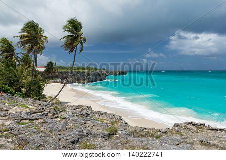 tropical beach Bottom Bay on the caribbean island Barbados