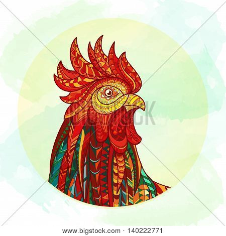 Hand drawn doodle outline rooster illustration. Patterned fiery on the grunge background. Symbol of chinese new year 2017. It may be used for design a t-shirt, bag, postcard, poster and so .