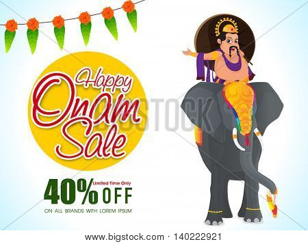 Happy Onam Sale with 40% Off for Limited Time, Creative Poster, Banner or Flyer design with illustration of King Mahabali riding on an elephant for South Indian Festival celebration.