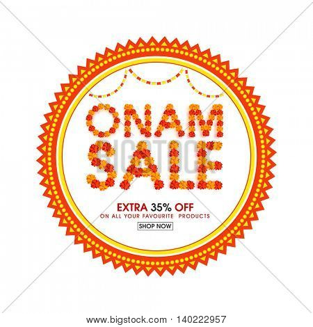 Beautiful flowers decorated text Onam Sale in creative frame, Stylish Poster, Banner or Flyer design for South Indian Festival celebration.