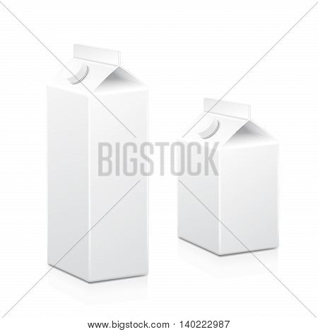 Milk and juice white carton boxes packages with lid. Vector isolated illustration.