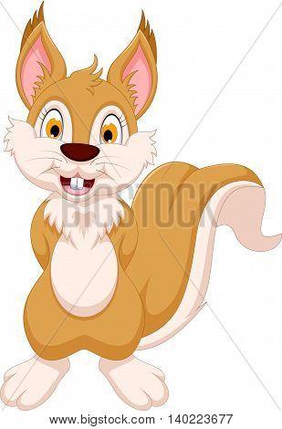 happy squirrel cartoon posing for you design