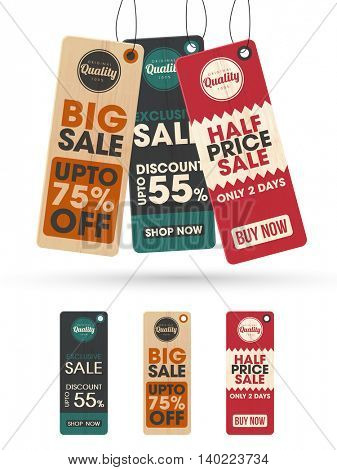 Set of three creative Sale or Price Tags, Labels design on white background.