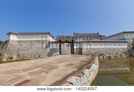 AKO JAPAN - JULY 18 2016: Honmarumon gates (gates of main bailey restored in 1996) of Ako Castle (circa 17th c.). Castle was a seat of Lord Asano Naganao