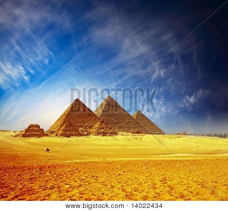 Great pyramids in Giza valley. Egypt