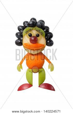 Clown made of fruits on isolated background