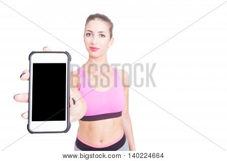 Selective Focus Of Lady Wearing Sportswear Holding Telephone