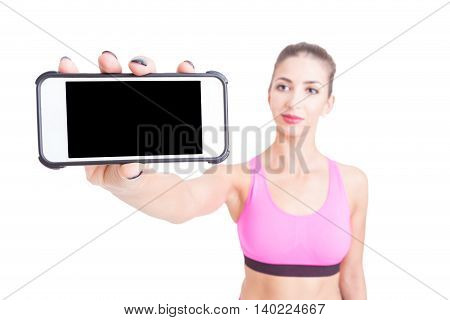 Selective Focus Of Woman Sport Trainer Holding Telephone