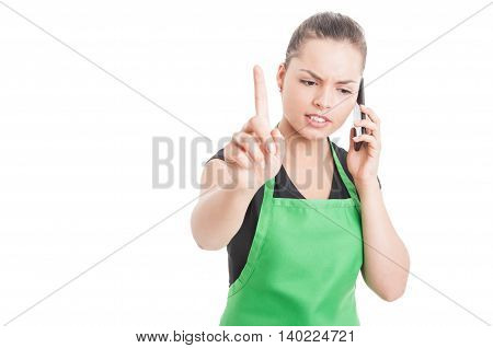 Serious Female Employee Pointing Finger