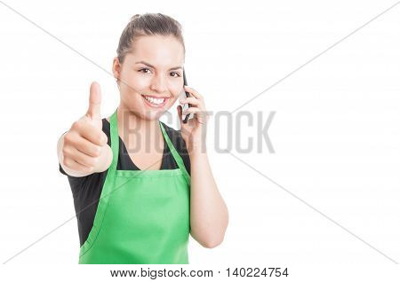 Smiling Attractive Employee Calling Somebody