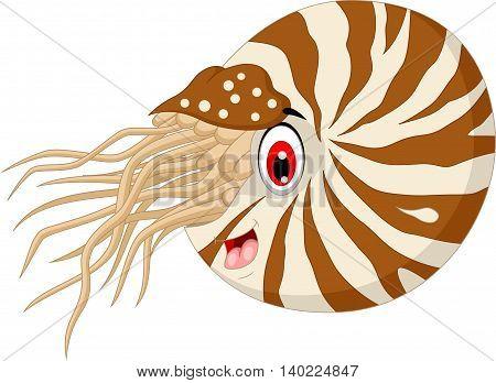 cute Nautilus Cartoon smiling for you design