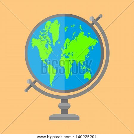 Globe isolated on brown background. map of world. vector illustration in flat style