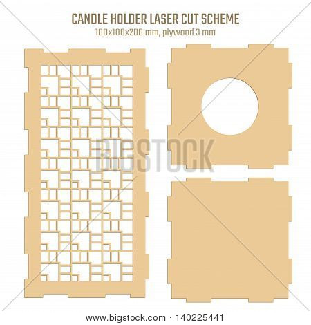 DIY Laser Cutting Vector Scheme for Candle Holder. Woodcut Lantern plywood 3mm. Art Deco Geometric design.