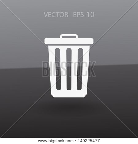 Flat paper basket icon. vector.