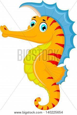 Cute seahorse cartoon posing for you design