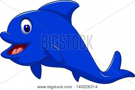 funny blue dolphin cartoon for you design