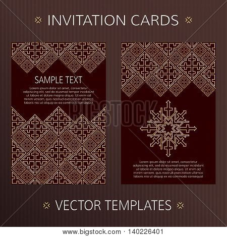 Set of two vector cards. Oriental design vector template. Invitation template cards. Vector card template with eastern ornament. Invitation templates in luxury style.