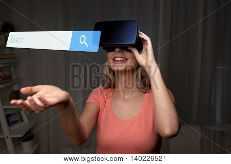 technology, virtual reality, cyberspace, entertainment and people concept - happy young woman with virtual reality headset or 3d glasses at home looking at internet browser search bar projection