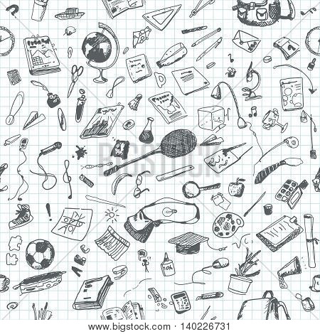 Hand drawn doodle school objects seamless pattern. Gray pencil objects, notebook background. Learning, study, poster, flyer, design.