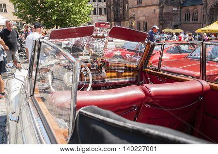 Nurnberg Bavaria / Germany - July 19th 2014: white vintage Mercedes Benz cabriolet at Sud - Rallye- Historic event in Nurnberg