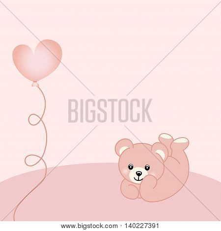 Scalable vectorial image representing a baby girl teddy bear background.