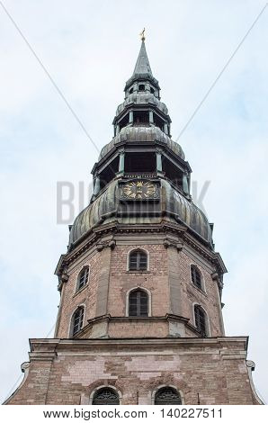 A tower of church of Saint Peter is in Riga