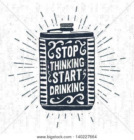 Hand drawn vintage label with textured flask vector illustration and