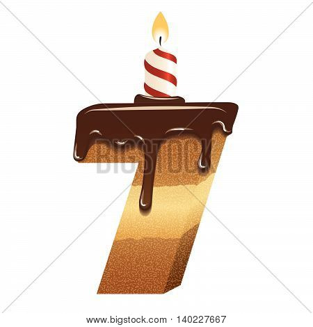 Cake font -number seven - 3d -with candle, vector image