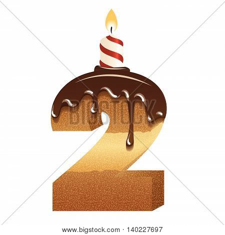Cake font -number two - 3d -with candle, vector image