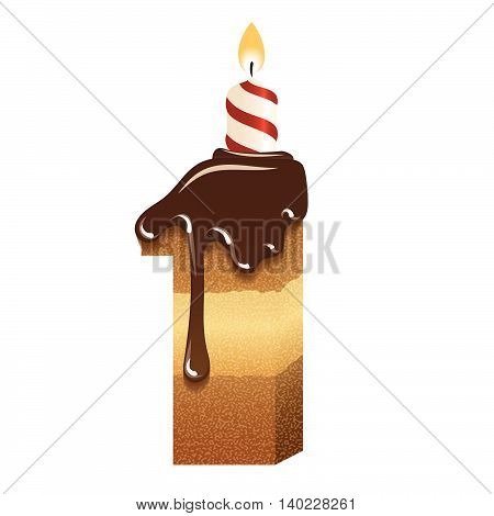 Cake font -number one - 3d -with candle, vector image