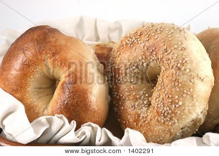 Closeup Of Bagels In A Basket