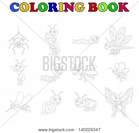coloring book with collection insects for you design
