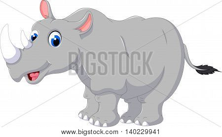 cute rhino cartoon posing for you design