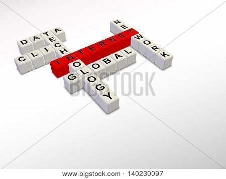white and red Internet crossword cubes 3d illustration