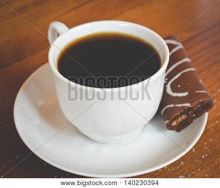 hot coffee for breakfast with chocolate cake