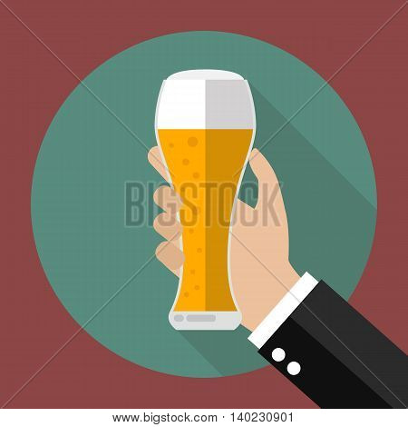 Glass of beer in hand. Vector illustration