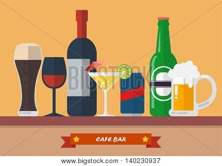 Set of drink bar flat icon. Vector illustration