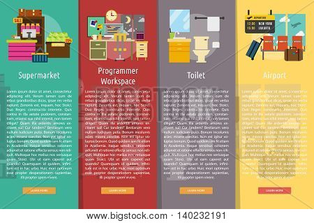 Building Interior Vertical Banner Concept   Set of great vertical banner flat design illustration concepts for building, interior, furniture, architecture, and much more.