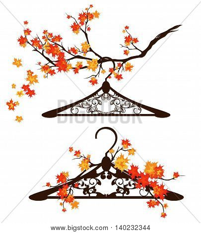 coat hangers among autumn branches - fall season fashion design vector set