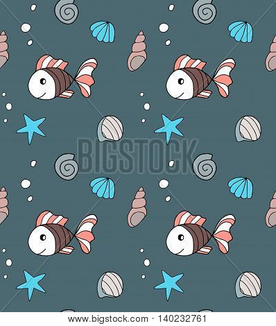 Hand drawn seamless pattern with fishes. Endless texture can be used for textile pattern, fills web page background.
