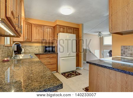 Light Tones Kitchen Room Interior With White Built-in Fridge.
