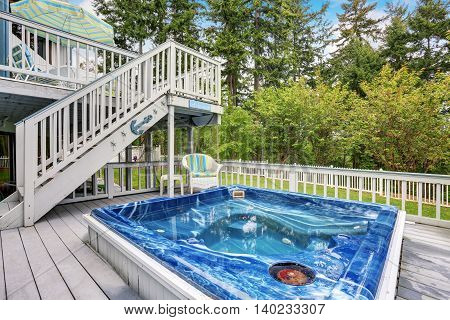 Large Marine Style Home With Two Level Deck. Jacuzzi View
