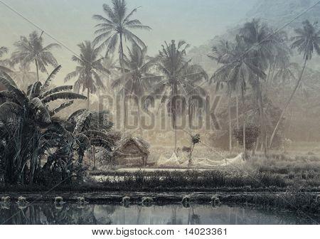 Kleines Holzhaus mit Fischnetz in tropischen Wald in der Nähe von Teich